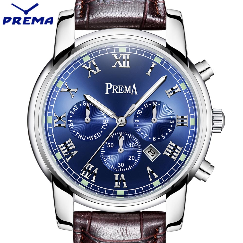 PREMA Men Watch Top Brand Luxury Quartz Watch Mens Sport Fashion Blue Analog Leather Strap Male Wristwatch New Waterproof Clock gnoth top brand men watch leather quartz analog hour fashion sapphire clock male waterproof wristwatch hot sale 2017 new arrival