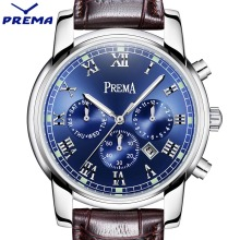 PREMA Men Watch Top Brand Luxury Quartz Watch Mens Sport Fashion Blue Analog Leather Strap Male Wristwatch New Waterproof Clock