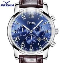 PREMA Men Watch Top Brand Luxury Quartz Watch Mens Sport Fashion Blue Analog Leather Strap Male Wristwatch New Waterproof Clock