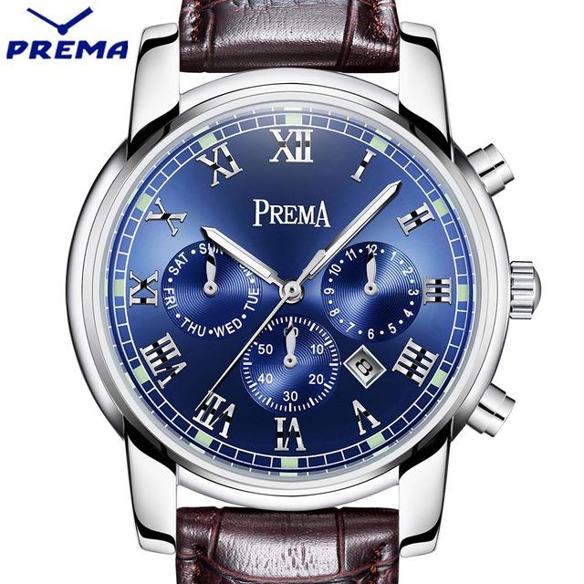 Prema homens assistir top marca de luxo relógio de quartzo do esporte dos homens moda azul analógico pulseira de couro masculino relógio de pulso novo relógio à prova d' água