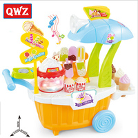 OWZ Simulation Small Carts Girl Mini Popcorn Candy Cart Ice Cream Shop Supermarket Children 's Toys Playing Home Baby Toys