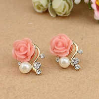 Fashion Dainty Women Pearl Crystal Rose Flower Earrings OL Stud Earrings Girls Push-back Earrings