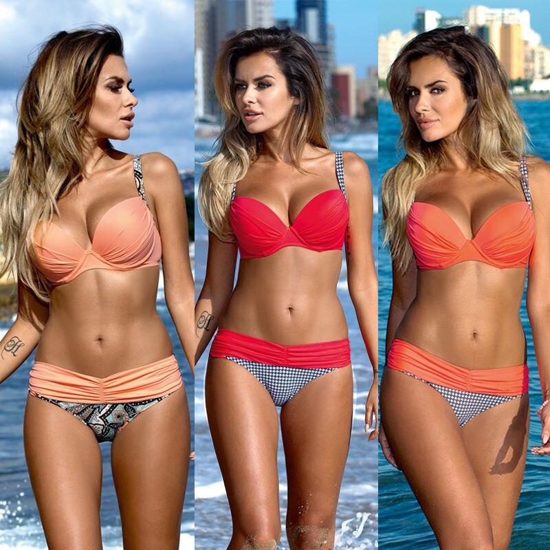 Swimwear Women Red Bikini 2017 Maillot De Bain Femme Large Size Swimsuit Push Up Brazilian Bikinis Women Beachwear Bathing Suits  2017 plus size women bikinis set brazilian floral print sexy push up swimwear beachwear bathing suits maillot de bain femme