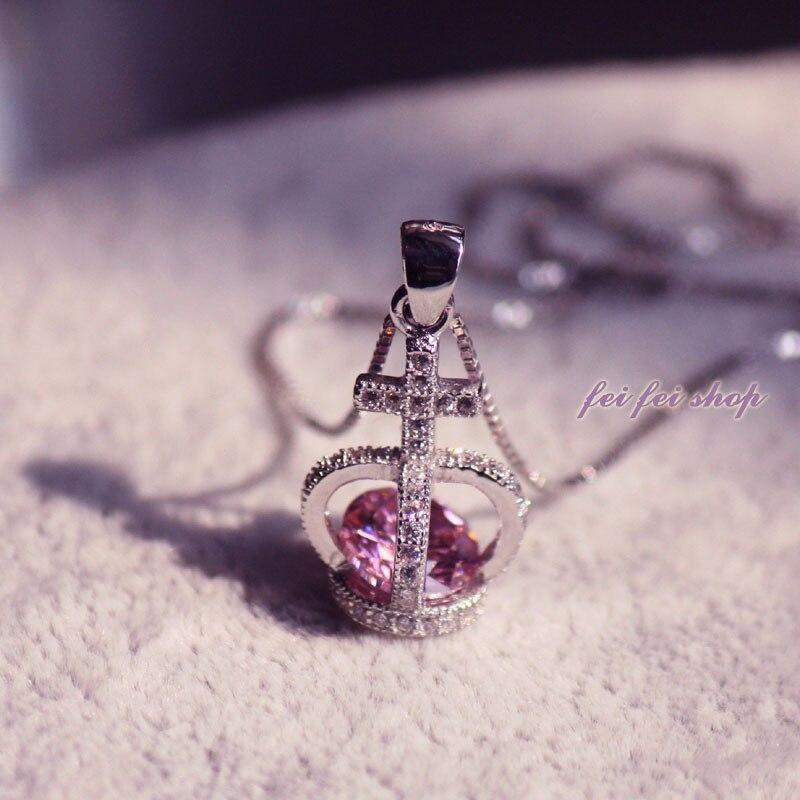 925 colliers en argent sterling chaîne en clavicule cristal reine couronne pendentif bijoux femme mode pendentif en argent