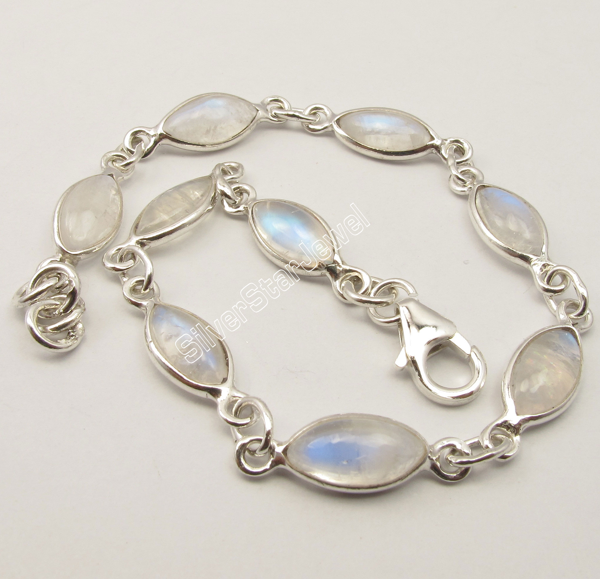 Chanti International Silver MARQUISE RAINBOW MOONSTONE LOVELY Bracelet 7 7/8 6.1 Grams