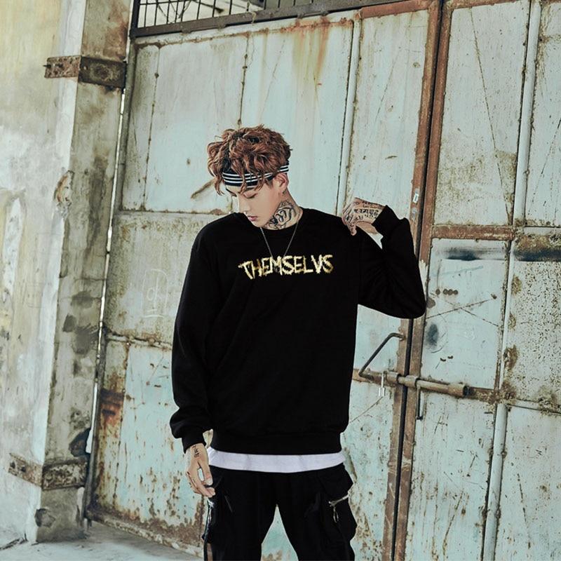 73bc014f0310ee Coton High Capuche Hommes Street Aolamegs sliver Streetwear Hop Hip O  Fashion Ruban Shirts Gold X ...
