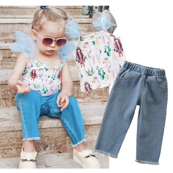 c97aaa3eb Children Summer Kids Baby Girls Clothes Sets Printed Sleeveless Tops Vest +  Jeans Pants 2pcs Clothing