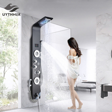 Ducha de banheiro luxo de coluna preto/escovado, chuveiro painel led banheiro misturador com chuveirinho marcador de temperatura