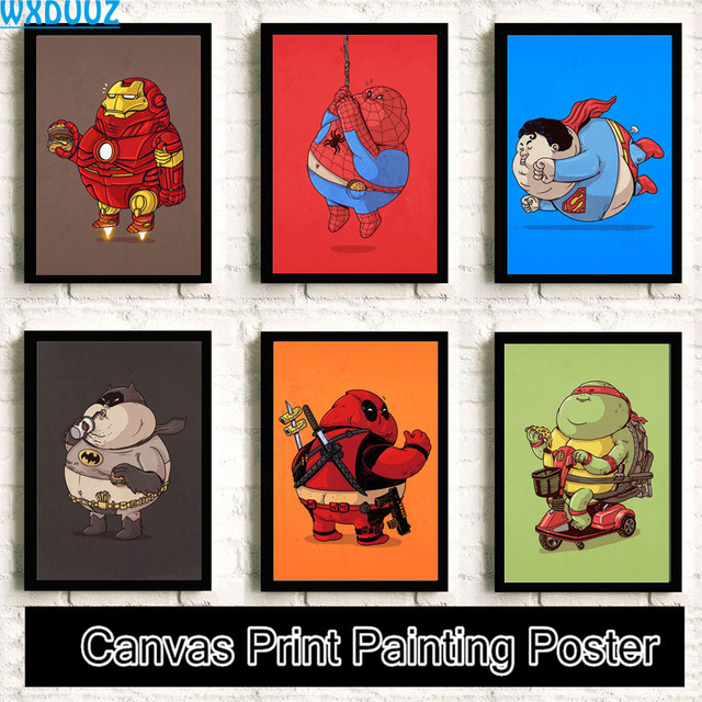 Funny Cartoon version Super hero Painting quality Home Decor Art Decor living room posters canvas painting No Frame K58