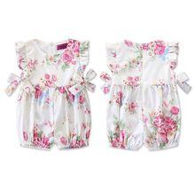 Baby Clothes Summer Jumpsuit Cute Rose Print Children Crawling Suit Bow Girls Newborn Sleeveless Romper
