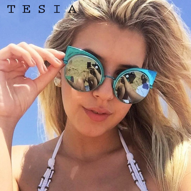 16cab1d91 TESIA Brand Round Sunglasses Women Mercury Coating Cat Eye Mirrored Sun  Glasses Female Designer Lunette T1010