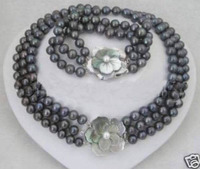 Hot sale new Style >>>>>REAL PEARL 3 Row 7 8mm Black Pearl Necklace Bracelet Set 17 19 & 7.5