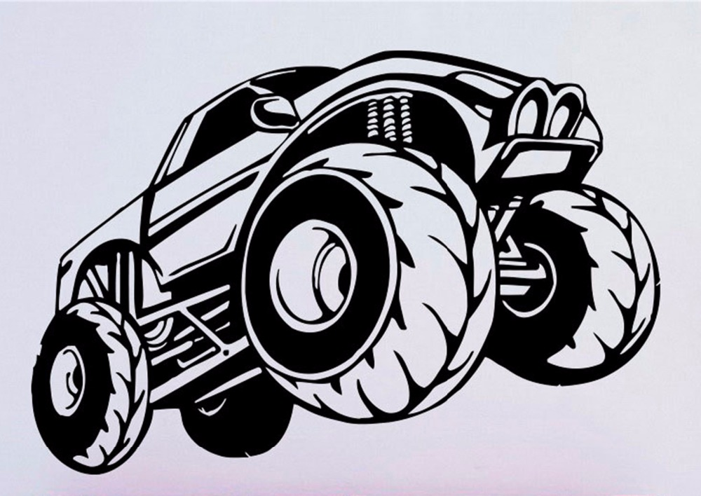 Monster Truck Wall Stickers Part - 43: YINGKAI Cartoon Monster Truck Racing Car Sticker Vinyl Carving Wall Decal  Sticker For Kids Room Home