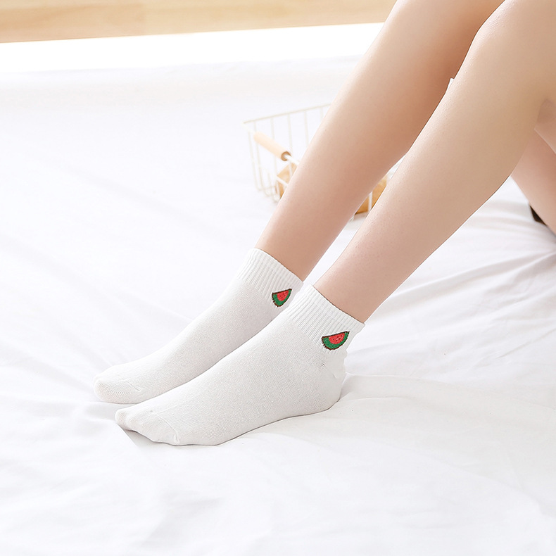 Kawaii Jacquard Fruit Strawberry BANANA White Women Socks Japanese Harajuku Funny Socks Calcetines Mujer in Socks from Underwear Sleepwears