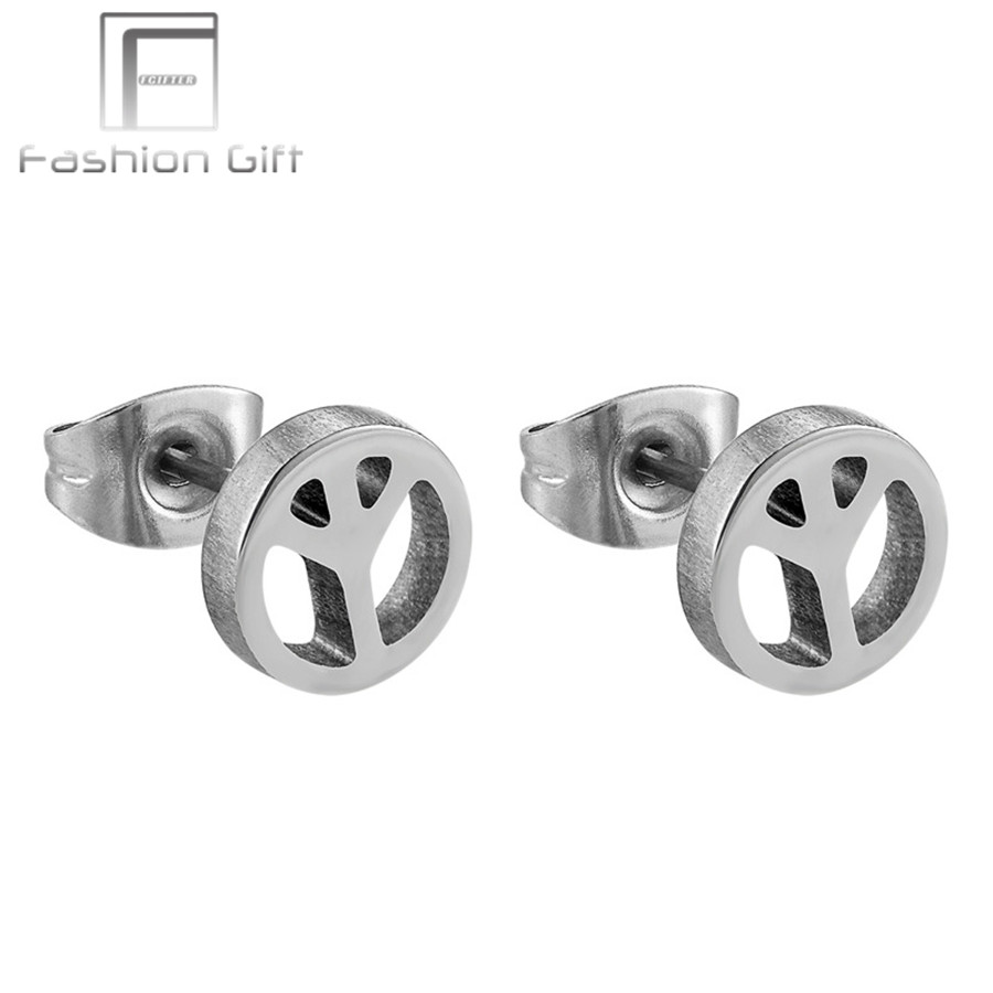 New Trend Peace Men Earrings for Men High Quality G23 Titanium Stud Earrings Male Ear Jewelry