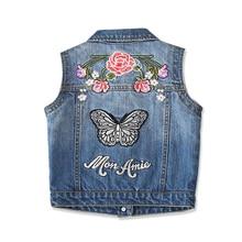 Джинсовый жилет для девочек весенне-Осенняя детская одежда без рукавов красивый джинсовый жилет с вышитой бабочкой для девочек от 2 до 10 лет