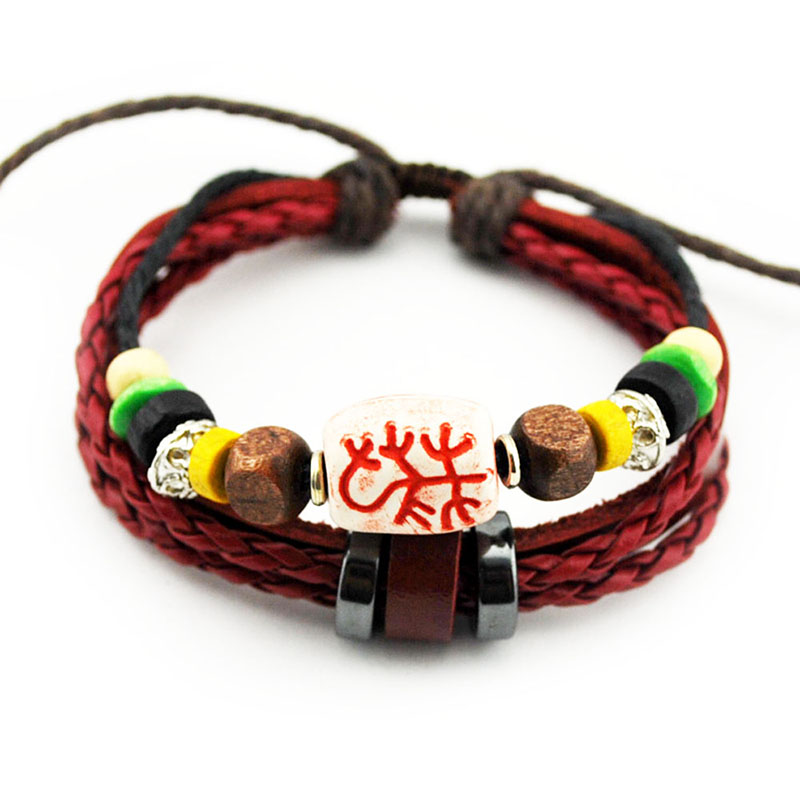 Handmade Braided Leather Bracelets Lace up Size Adjustable Punk Style Men Women Bracelets & Bangles