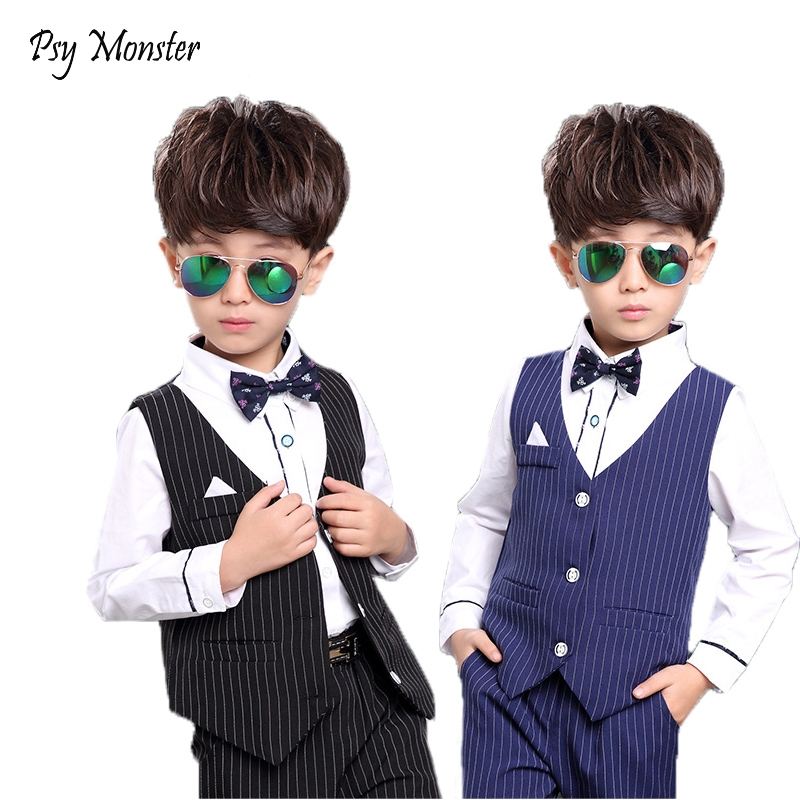 2018 Children Baby Flower Boys Blazer Clothes Set Shirt Vest Pants 3Pcs Suits For Wedding Kids Tuxedo Suit Boys Formal Clothing spring summer newborn baby boy clothes set shirt pants infant baby boys clothing children kids suit formal wedding clothes suits