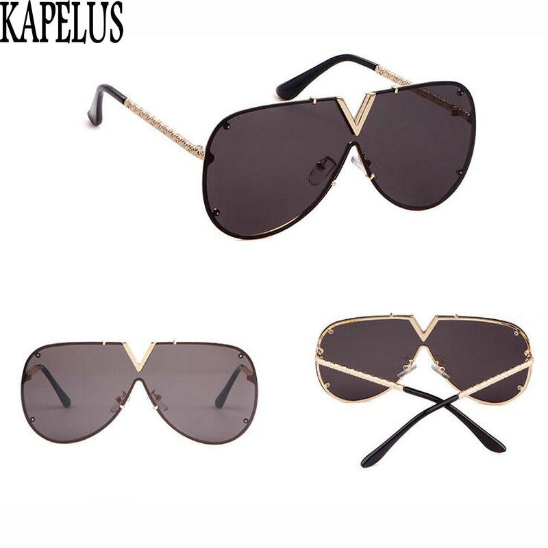 KAPELUS New Style Fashion Large Frame Sunglasses Men And Women The Same Style Of Lovers Fashion Dazzle Color Sunglasses 0213