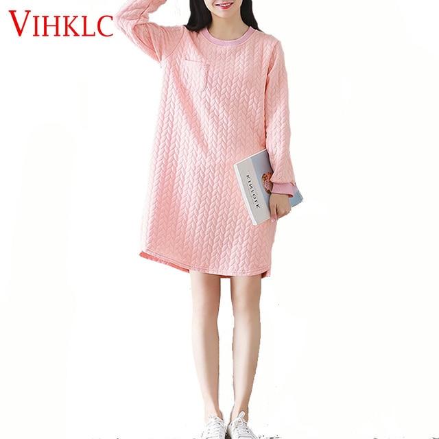 Plus Size T-Shirt Dress Women Cotton Autumn Polka Dot New Fashion Female  O-Neck Pink Casual Sweet Plus Tops Tees Pocket Dress 18b96f47995e