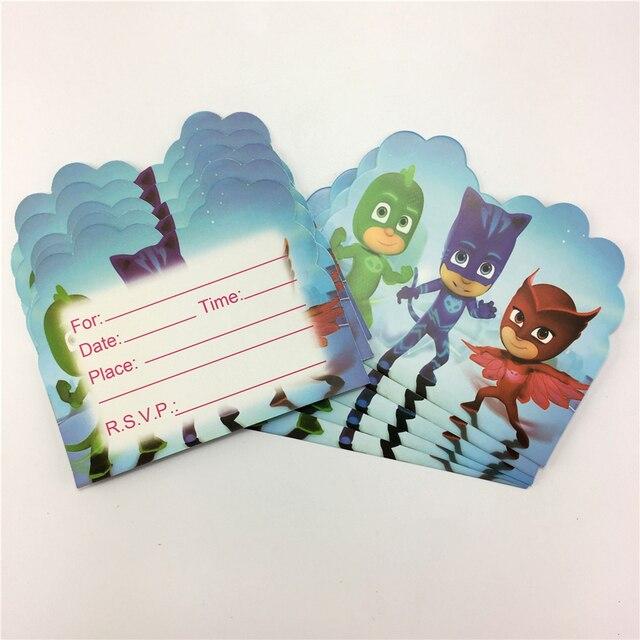 20 Pcs PJmasks Cartoon Theme Happy Birthday Party Decoration Invitation Card For Kids Boys Favors 11