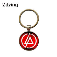 ZDYING Fashion Rock Linkin Park Logo Charmes Sleutelhanger Glas Dome Sleutelhanger Sleutelhanger Houder Voor Fans Auto Tas Accessoires Gift LK002(China)