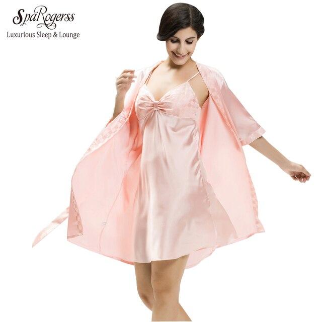 Топ-Продвижение Лето Женщины Пижама Сна Lounge 2 Шт. Роскошные Атласные Сексуальный Халат Платье Устанавливает 10273