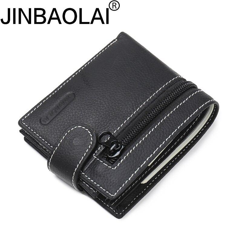 все цены на Brand Famous Genuine Leather Men Wallets Front Zip Wallets Black Leather Wallet for Men With Coin Pocket Card Holder Wallets