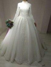 White Ivory Long Arabic Bridal Gown Islamic Sleeve Arab 2019 Muslim Wedding Dress Boho Sofuge Vestido De Noiva