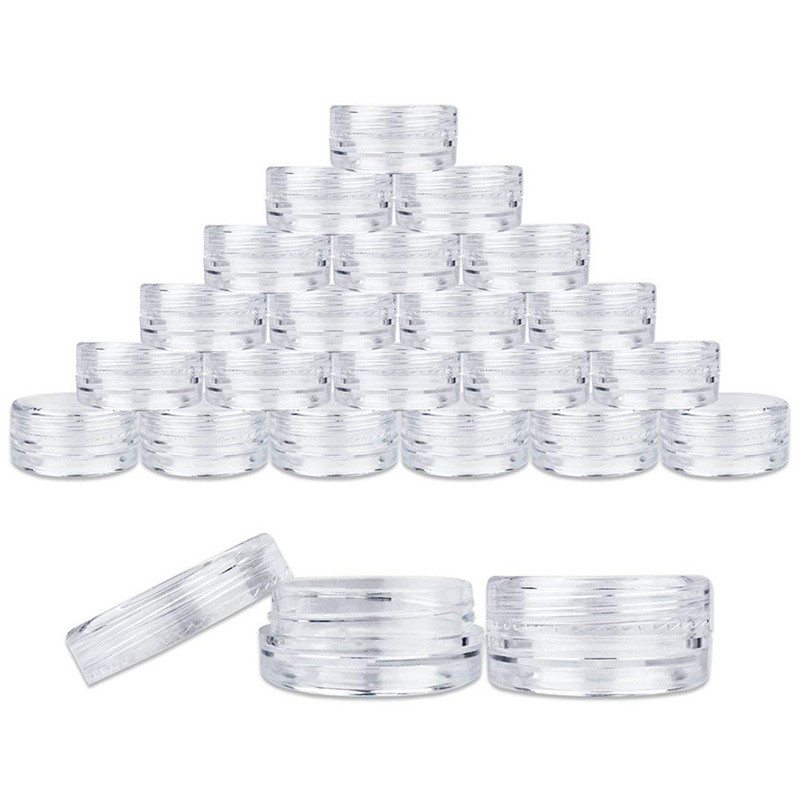 Make-up bottling 100X Clear Plastic Sample Container Mini Bottle Pot Jars Cosmetic Tools 5ml Make-up bottling dropship Jan4(China)