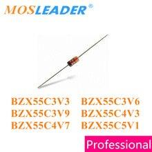 Mosleader 1000 Uds. DO35 BZX55C Series BZX55C3V3 3,3 V BZX55C3V6 3,6 V BZX55C3V9 3,9 V BZX55C4V3 4,3 V BZX55C4V7 4,7 V BZX55C5V1