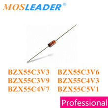 Mosleader 1000PCS DO35 BZX55C Series BZX55C3V3 3.3V BZX55C3V6 3.6V BZX55C3V9 3.9V BZX55C4V3 4.3V BZX55C4V7 4.7V BZX55C5V1 5.1V