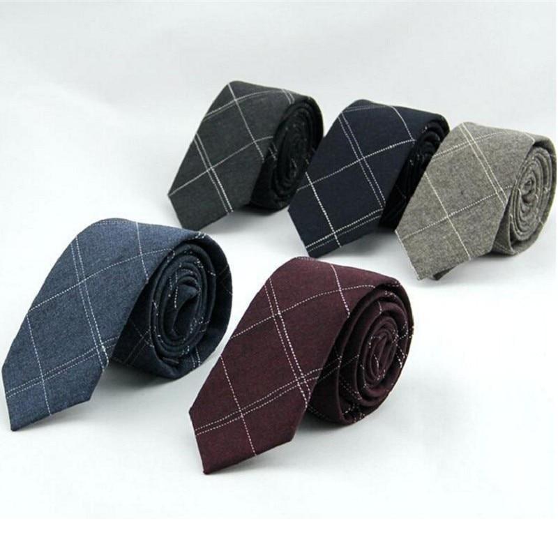 6cm plaid mens necktie cotton ties man check tie ascot neckwear business suit shirt accessories for men
