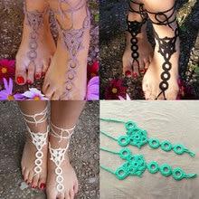 2016 Новые Моды для Женщин Chaine Boho Лодыжки Цепи Хлопок Ручной Крючком Ювелирные Изделия Браслет CX17