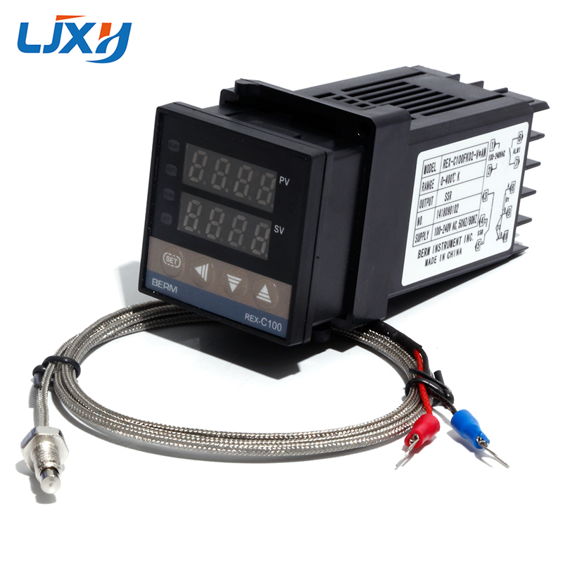 LJXH <font><b>REX</b></font>-C100 Digital PID Temperature Thermostat Controller with M6 Thread Type K Thermocouple SSR/Relay Output Controller Kit image