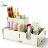 YIHONG DIY Wooden Cosmetic Desktop Pen/Pencil Storage Box Jewelry Cosmetic Stationery Storage Shelf Boxes For Halloween Gift 27c