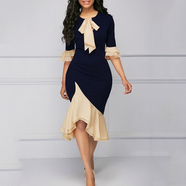1b43331ae9f 2018 Autumn Vintage Elegant Office Lady Women Dresses Mermaid Flare Sleeve  Bow Collar Asymmetric Falbala Girls Sexy Female Dress