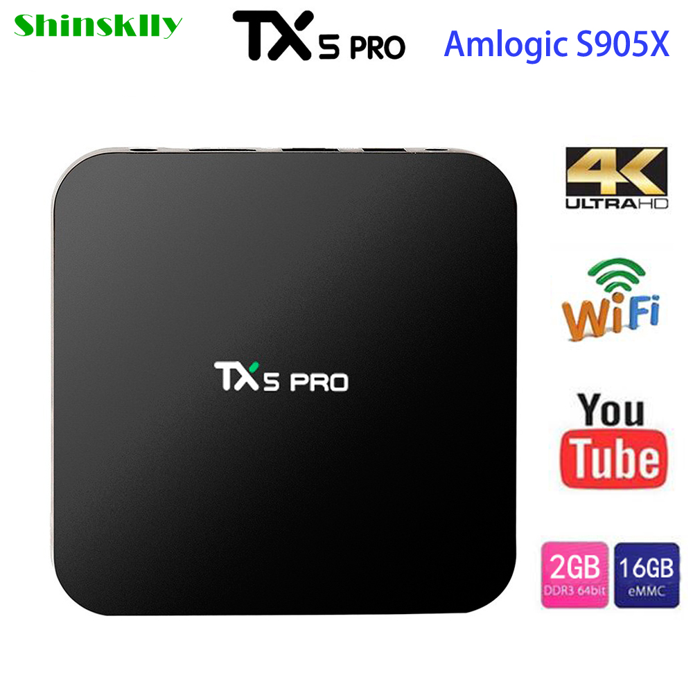 Shinsklly Best TX5 Pro Amlogic S905X Quad Core Android 6.0 TV Box 2GB RAM 16GB 4K HDMI H.265 Smart TV Set Top Box Media Player