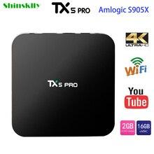 Shinsklly Best TX5 Pro Amlogic S905X Quad Core Android 6.0 TV Box 2GB RAM 16GB 4K HDMI H.265 Smart TV Set Top Box Media Player