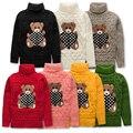Зима новорожденных девочек мальчиков высокая водолазка шерстяной свитер вязаный красный дети маленькие дети сгущает высокая шея мультфильм свитера FG028