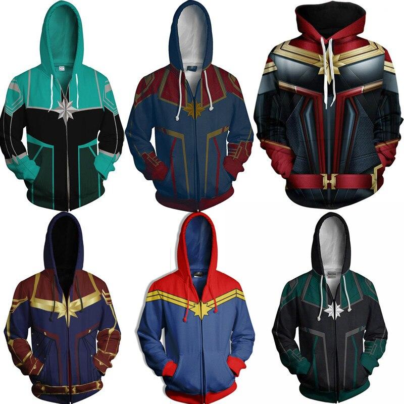 WXCTEAM Captain Marvel Hoodies men Carol Danvers Sweatshirt Cosplay Hoodies Sweatshirts Style Streetwear Top hoodie Drop Ship