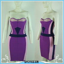 Sexy and daring bodycon bandage dress fashionable strapless purple bandage dress for the women DM610