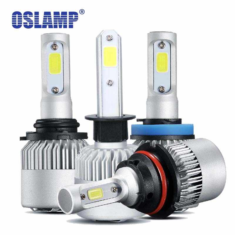 Oslamp H4 Led Car Light H7 LED H11 9005 9006 H13 Headlight Bulbs COB Chips 72W 8000LM H3 H1 Auto LED Bulbs 12v 6500K Cooling Fan