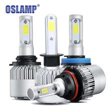 Oslamp H4 Led Car Light H7 LED H11 9005 9006 H13 Headlight Bulbs COB Chips 72W 8000LM H3 H1 Auto LED Bulbs 12v 6500K Cooling Fan(China)