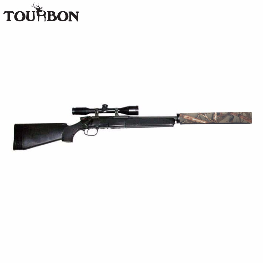 Tourbon 사냥 총 커버 소음기 사운드 moderator 억 제기 블랙 네오프렌 방수 탄성 고무 처리