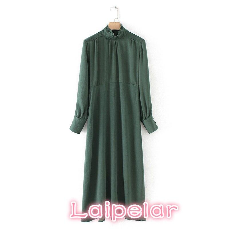 Винтажное зеленое летнее платье с длинными рукавами, повседневное свободное офисное платье миди 2018, корейский сарафан с оборками, Пляжное Платье vestidos