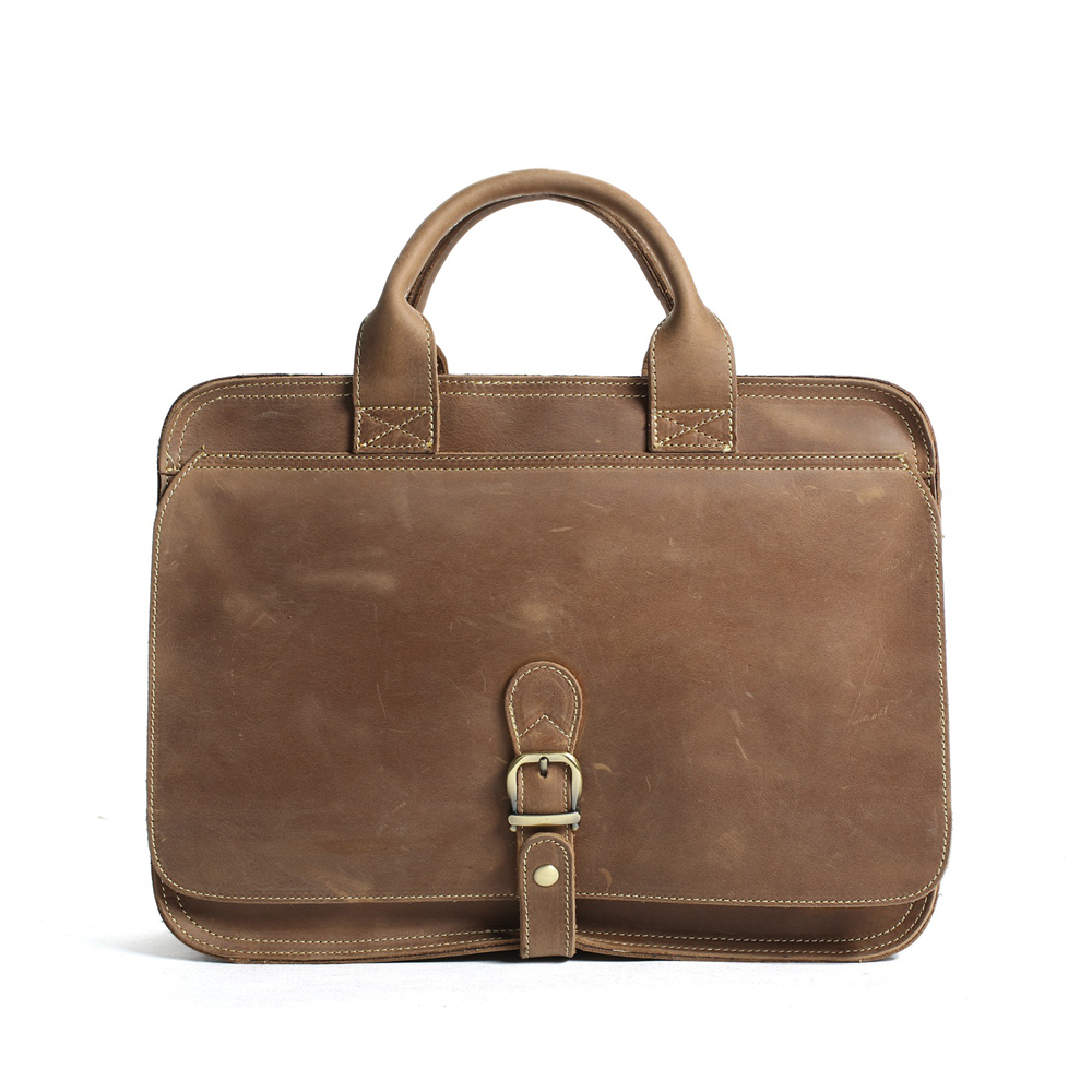 ROCKCOW Men's Handmade Leather Briefcase Messenger Laptop Bag Men's Handbag For Christmas Gift 6020 rockcow vintage vegetable tanned leather briefcase men messenger bag laptop bag 9043