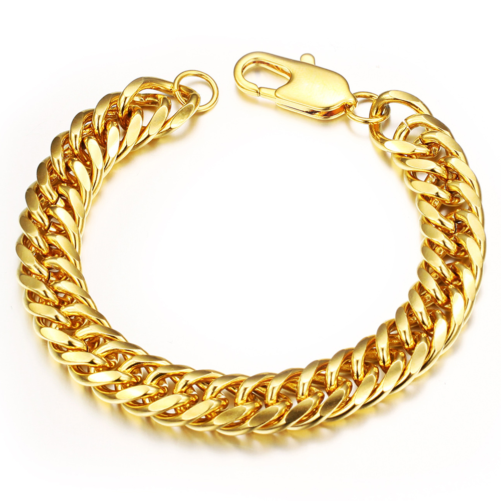 Stainless Steel Gold Bracelet Men Jewelry Chain Link Bracelets & Bangles  Charms Male Accessories Fashion Christmas