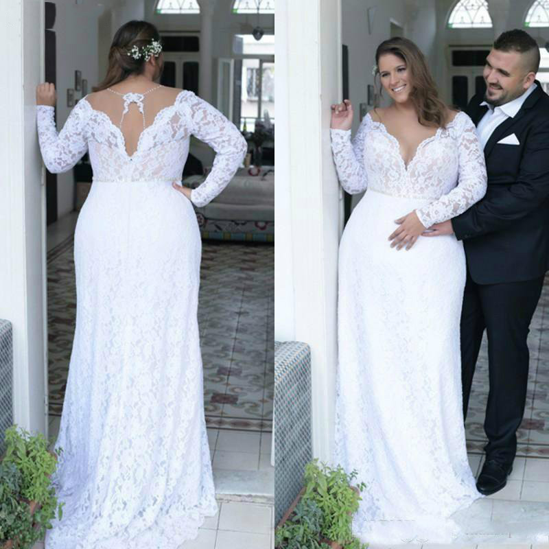 Cheap Plus Size Wedding Dresses Deep V Neck Vintage Long Sleeves 2019 Formal Wedding Bridal Gowns