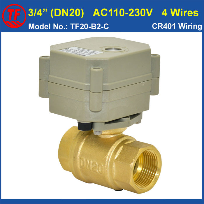 TF20-B2-C Brass 3/4 AC110V-230V 4 Wires Electric Ball Valve BSP Or NPT Thread DN20 Automated Valve For Water Application CE 2pcs lot 1 4 bsp male full ports connection air brass thread pipe ball valve
